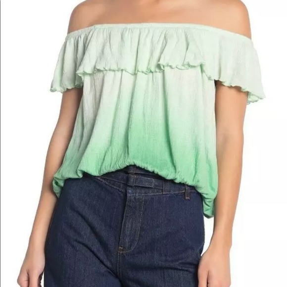 Free People Green Cora Lee Off the Shoulder Top SM